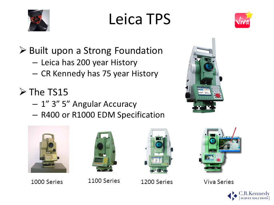 Leica TPS Built upon a Strong Foundation – Leica has 200 year History – CR Kennedy has 75 year History The TS15 – 1 3 5 Angular Accuracy – R400 or R10