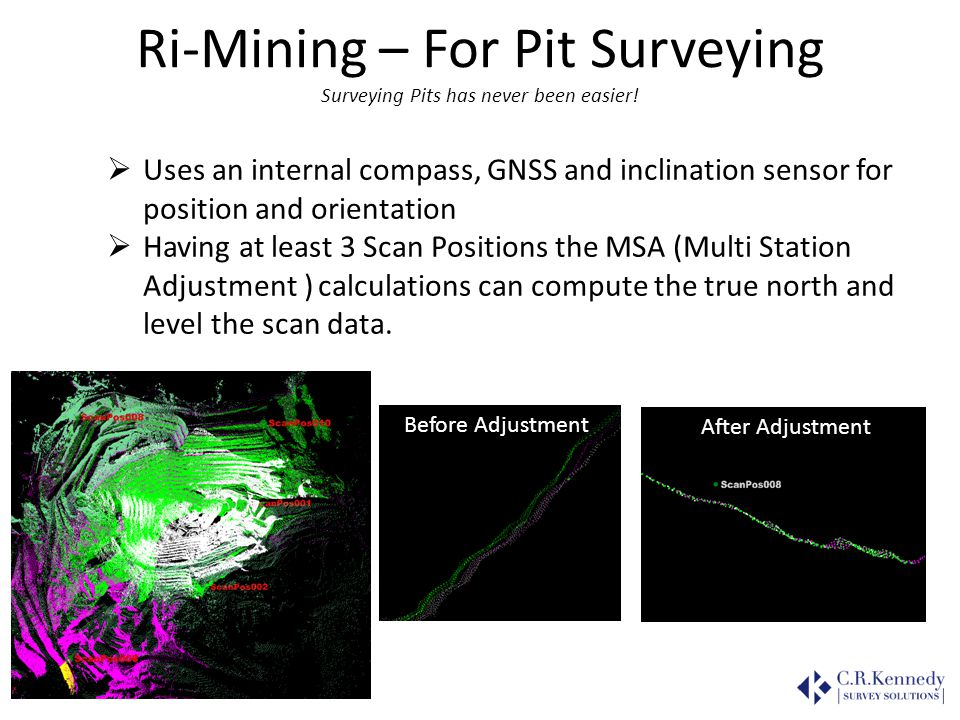 Ri-Mining – For Pit Surveying Surveying Pits has never been easier! Uses an internal compass, GNSS and inclination sensor for position and orientation