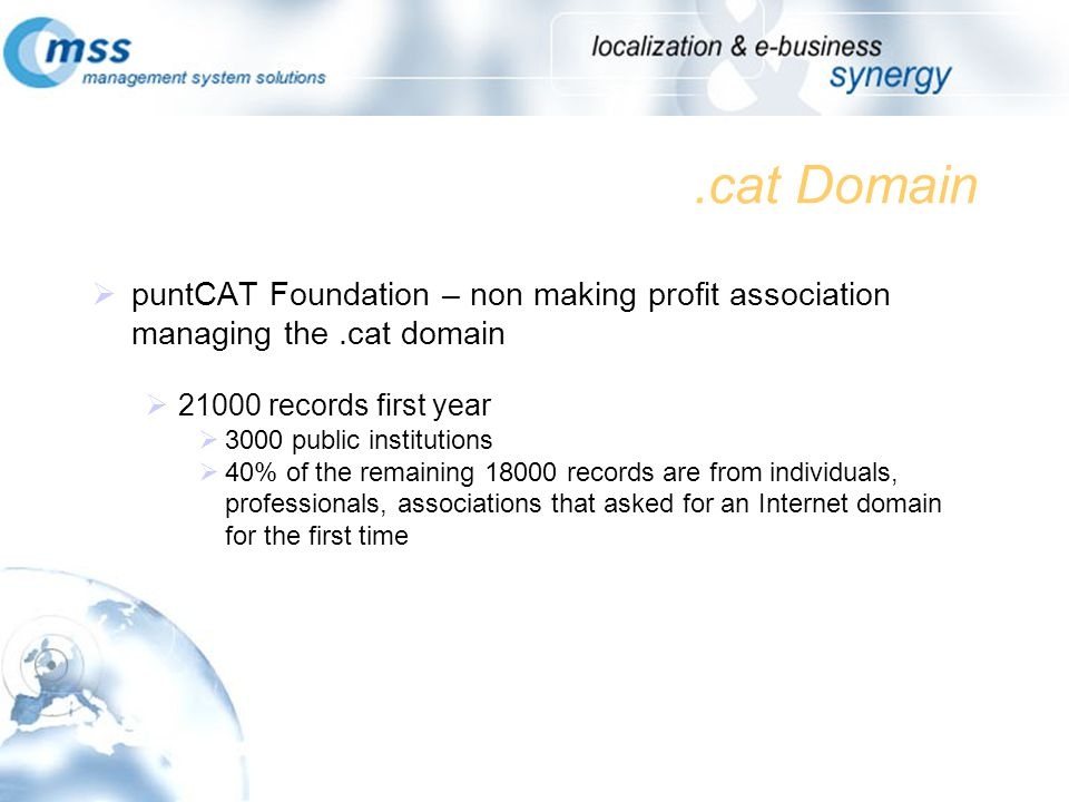 .cat Domain puntCAT Foundation – non making profit association managing the.cat domain 21000 records first year 3000 public institutions 40% of the remaining 18000 records are from individuals, professionals, associations that asked for an Internet domain for the first time
