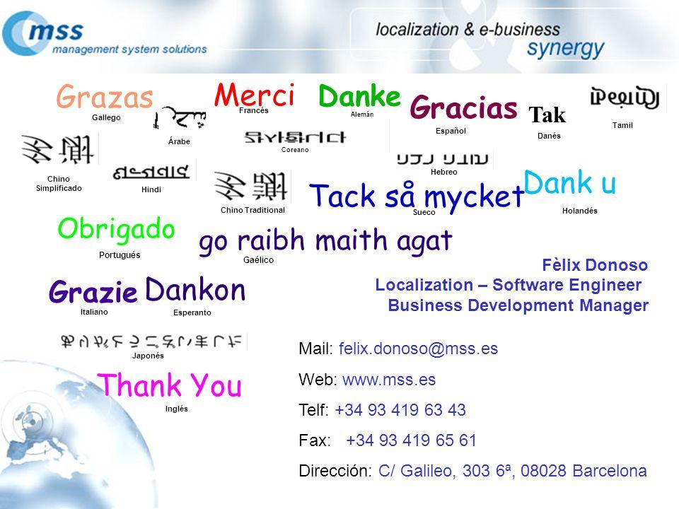 Fèlix Donoso Localization – Software Engineer Business Development Manager Mail: felix.donoso@mss.es Web: www.mss.es Telf: +34 93 419 63 43 Fax: +34 9