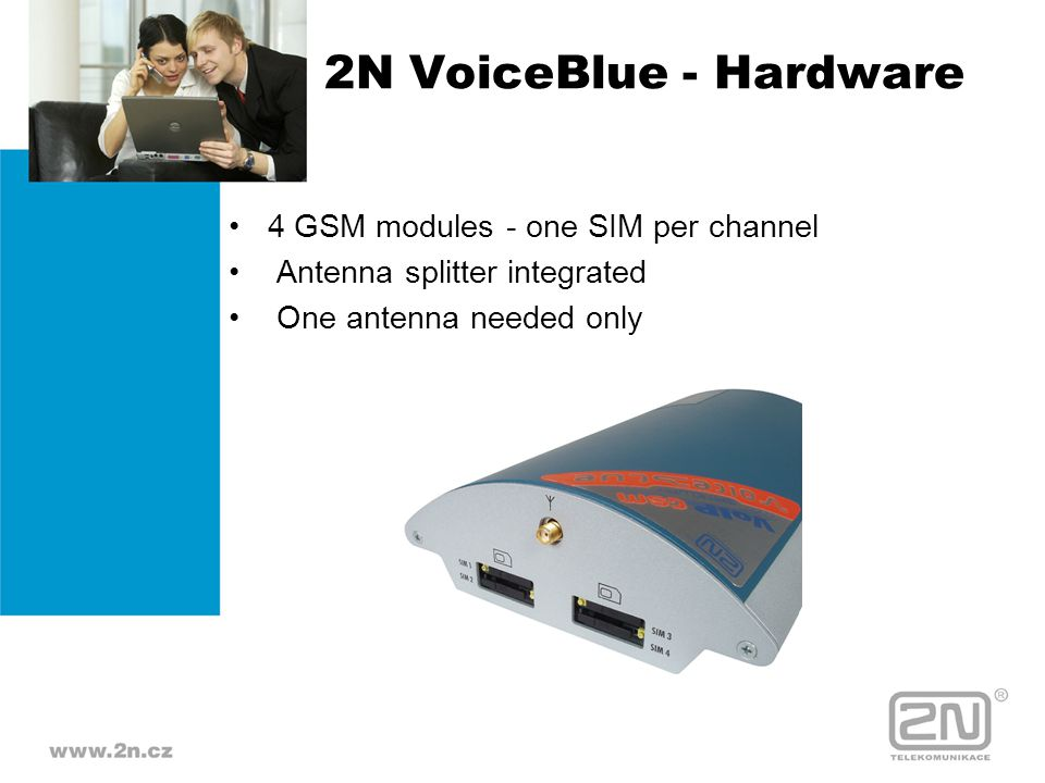 2N VoiceBlue - Hardware 4 GSM modules - one SIM per channel Antenna splitter integrated One antenna needed only