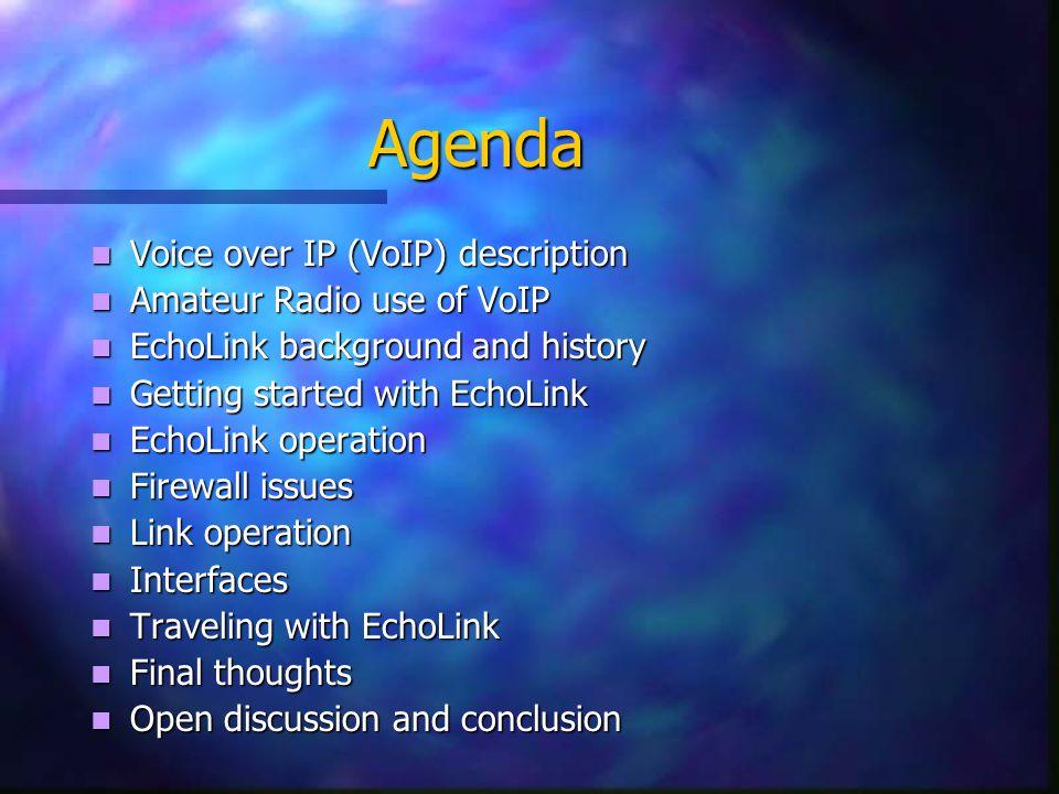 Agenda Voice over IP (VoIP) description Voice over IP (VoIP) description Amateur Radio use of VoIP Amateur Radio use of VoIP EchoLink background and h