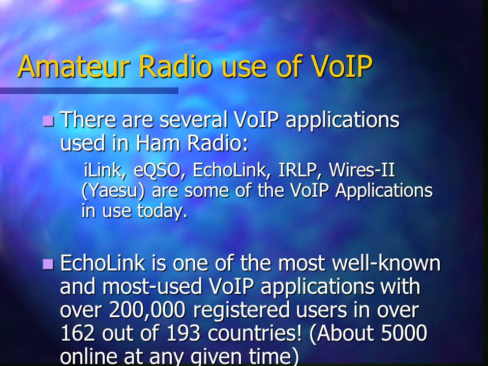 Amateur Radio use of VoIP There are several VoIP applications used in Ham Radio: There are several VoIP applications used in Ham Radio: iLink, eQSO, EchoLink, IRLP, Wires-II (Yaesu) are some of the VoIP Applications in use today.