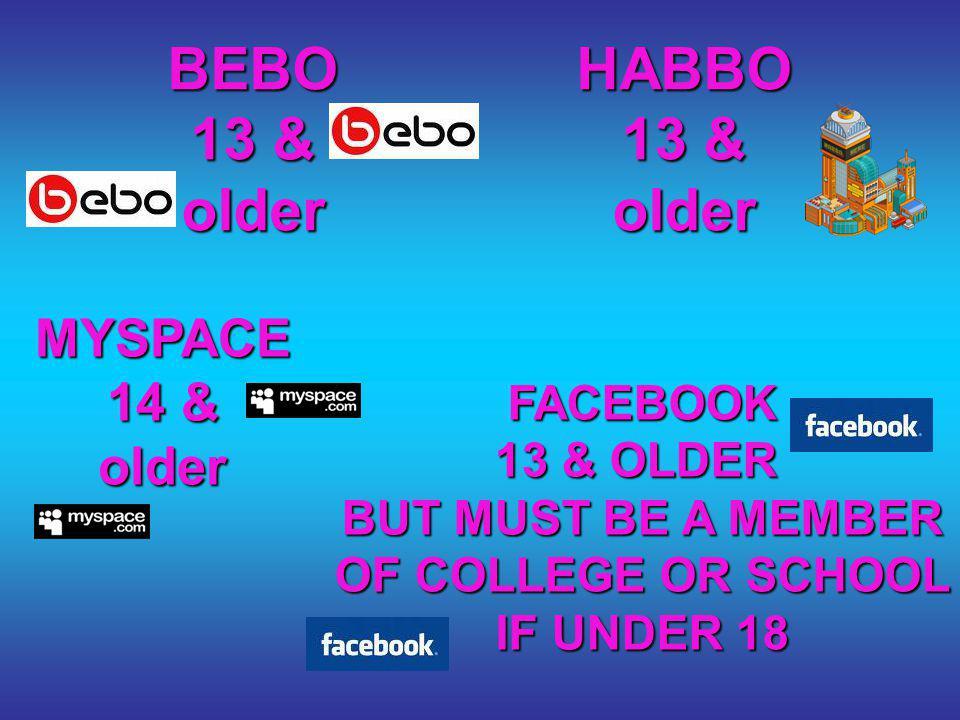 BEBO 13 & older HABBO 13 & older FACEBOOK 13 & OLDER BUT MUST BE A MEMBER OF COLLEGE OR SCHOOL IF UNDER 18 MYSPACE 14 & older