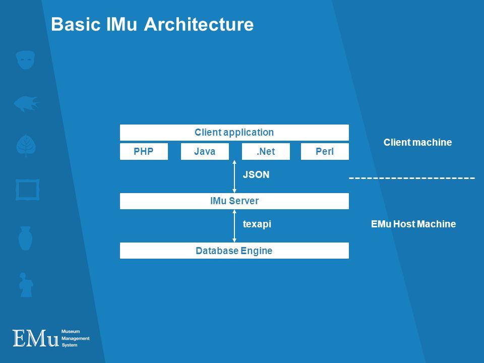 Basic IMu Architecture Database Engine IMu Server texapi JSON EMu Host Machine PHP Client machine Java.NetPerl Client application