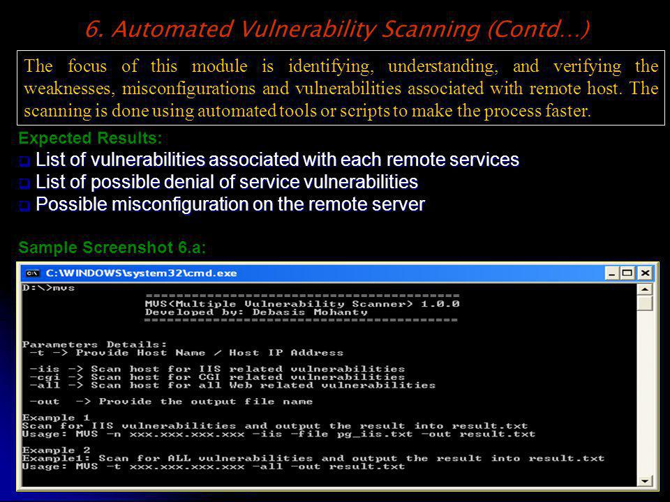 Expected Results: List of vulnerabilities associated with each remote services List of vulnerabilities associated with each remote services List of po