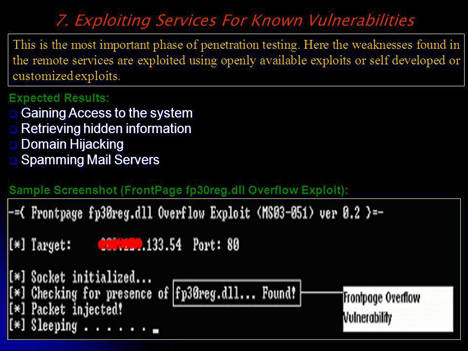 7. Exploiting Services For Known Vulnerabilities This is the most important phase of penetration testing. Here the weaknesses found in the remote serv