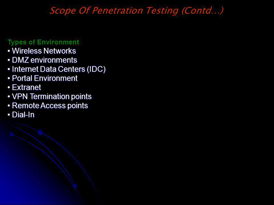 Types of Environment Wireless Networks Wireless Networks DMZ environments DMZ environments Internet Data Centers (IDC) Internet Data Centers (IDC) Por