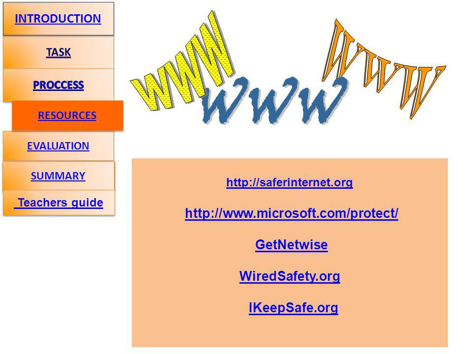 http://saferinternet.org http://www.microsoft.com/protect/ GetNetwise WiredSafety.org IKeepSafe.org EVALUATION INTRODUCTION SUMMARY RESOURCES Teachers