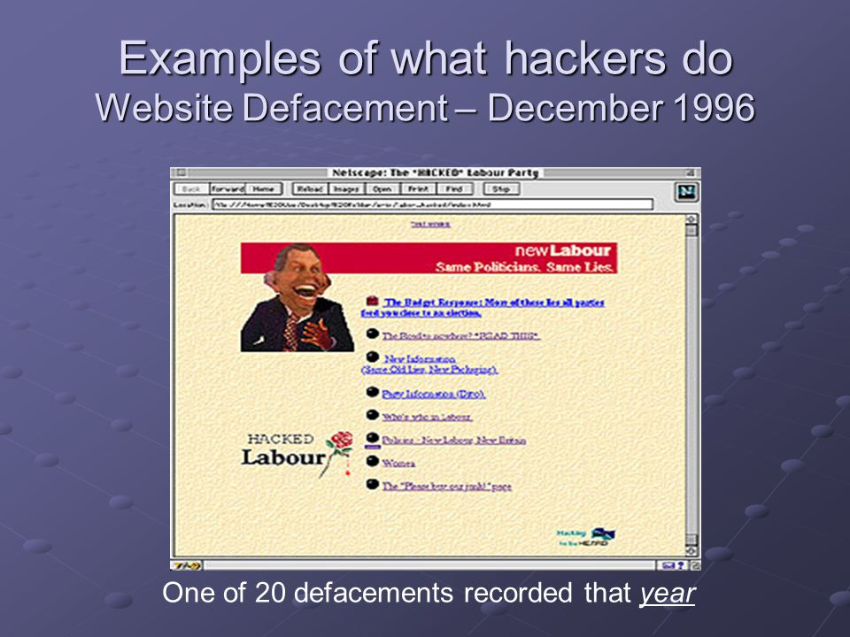 Examples of what hackers do Website Defacement – December 1996 One of 20 defacements recorded that year
