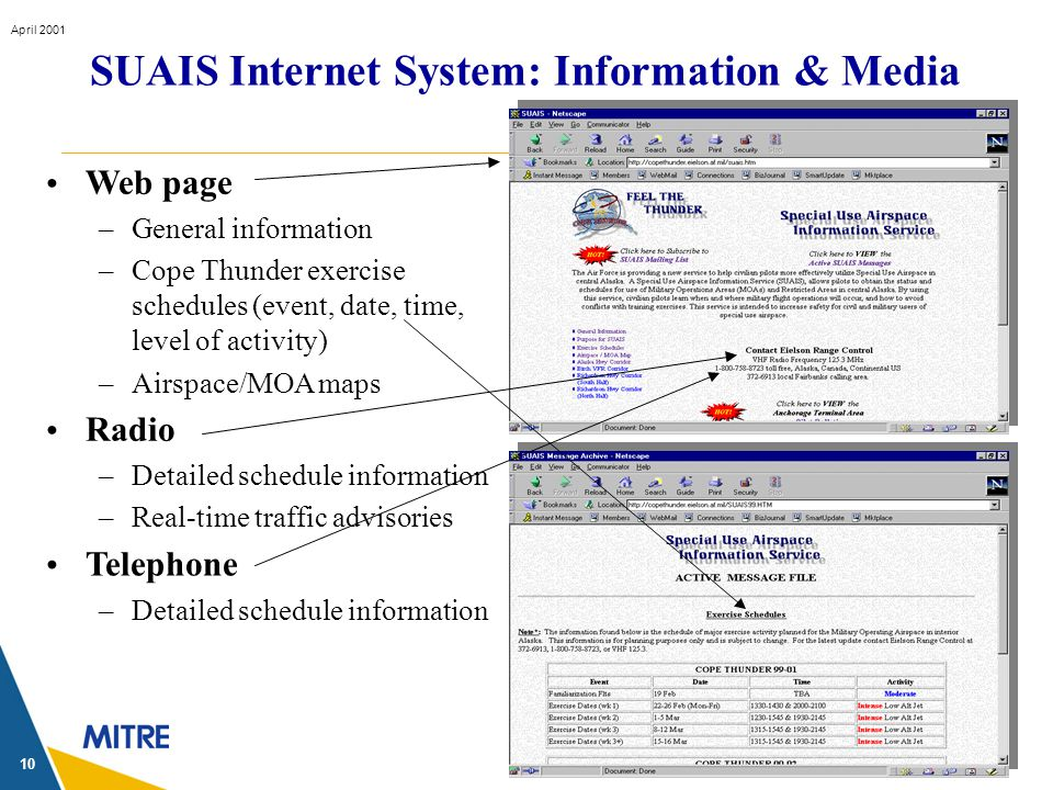 © 2001 The MITRE Corporation April 2001 10 Web page –General information –Cope Thunder exercise schedules (event, date, time, level of activity) –Airs
