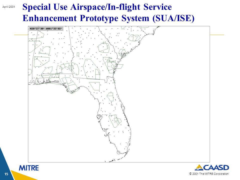 © 2001 The MITRE Corporation April 2001 15 Special Use Airspace/In-flight Service Enhancement Prototype System (SUA/ISE)