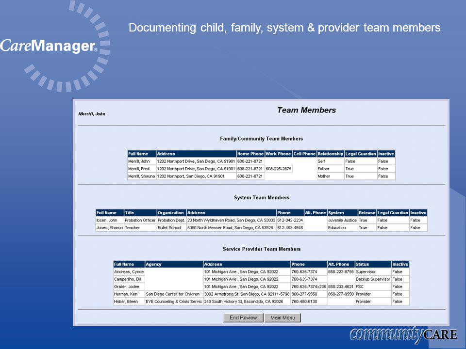 Documenting child, family, system & provider team members