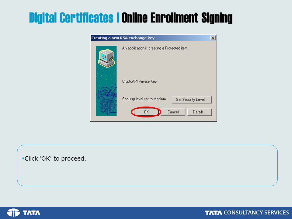 Click OK to proceed. Digital Certificates | Online Enrollment Signing
