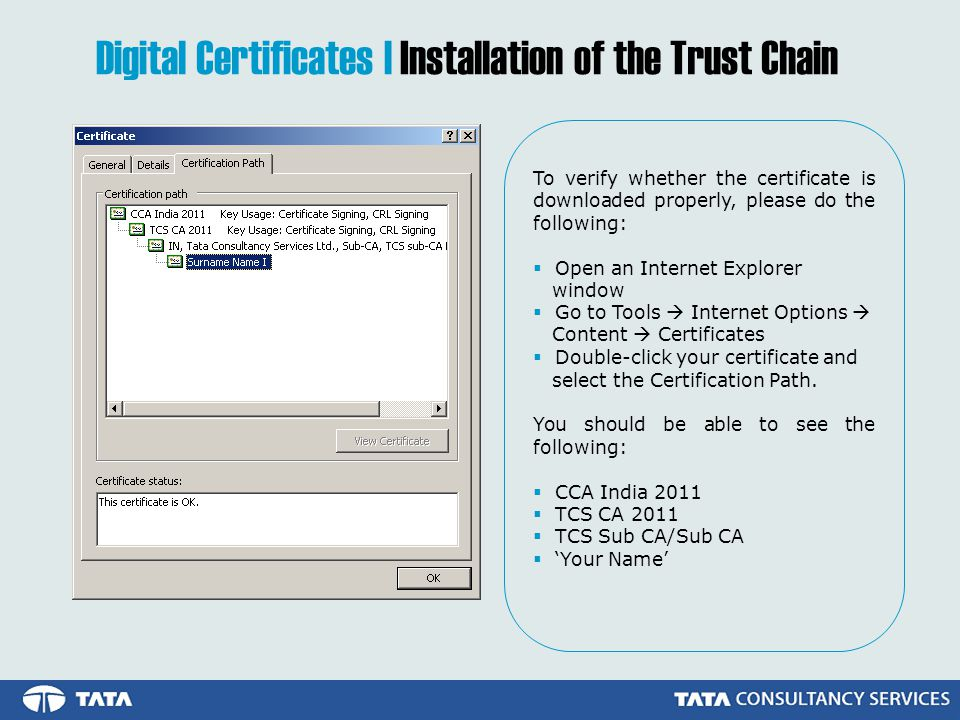 Digital Certificates | Installation of the Trust Chain To verify whether the certificate is downloaded properly, please do the following: Open an Internet Explorer window Go to Tools Internet Options Content Certificates Double-click your certificate and select the Certification Path.