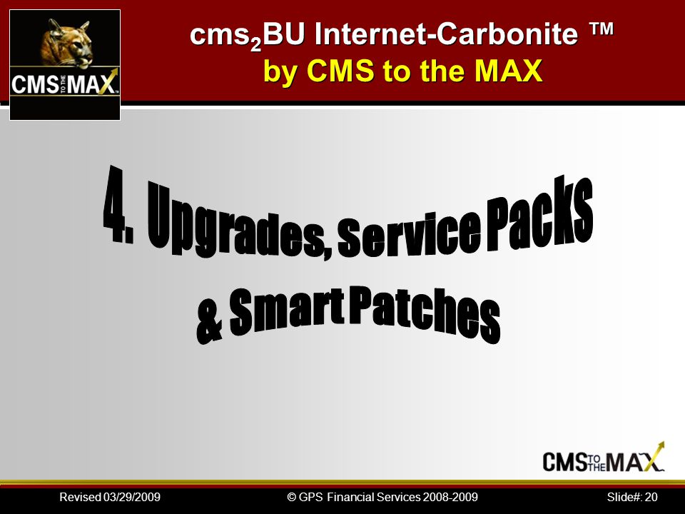 Slide#: 20© GPS Financial Services 2008-2009Revised 03/29/2009 cms 2 BU Internet-Carbonite by CMS to the MAX