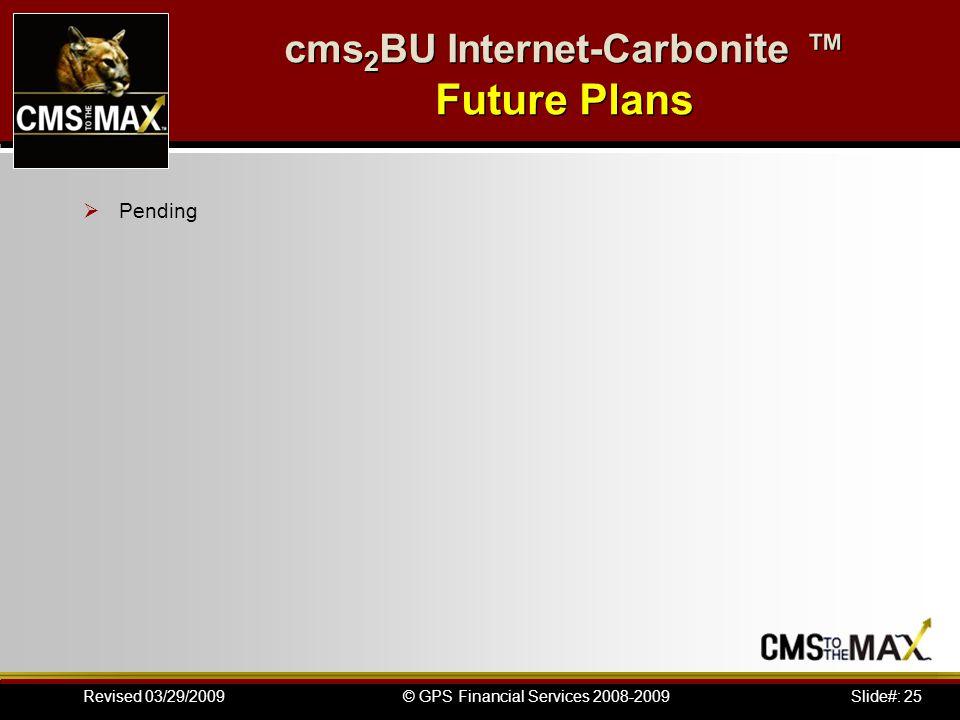 Slide#: 25© GPS Financial Services 2008-2009Revised 03/29/2009 cms 2 BU Internet-Carbonite Future Plans Pending