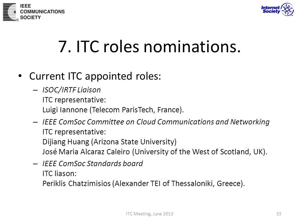 7. ITC roles nominations.
