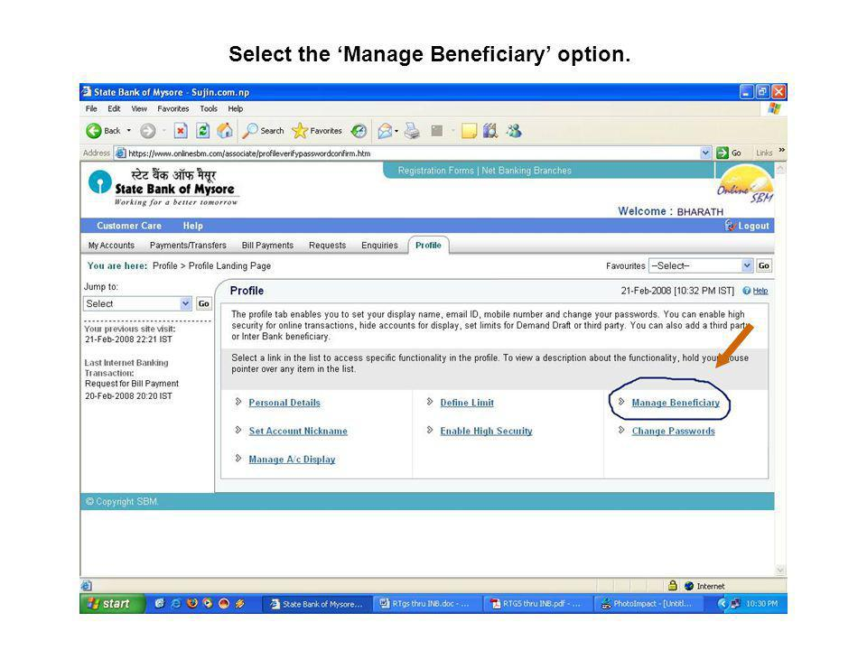 Select the Manage Beneficiary option.