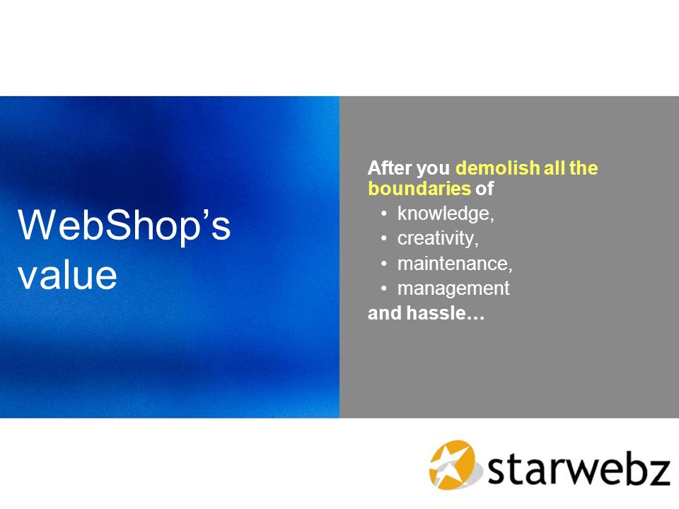 WebShops value After you demolish all the boundaries of knowledge, creativity, maintenance, management and hassle…
