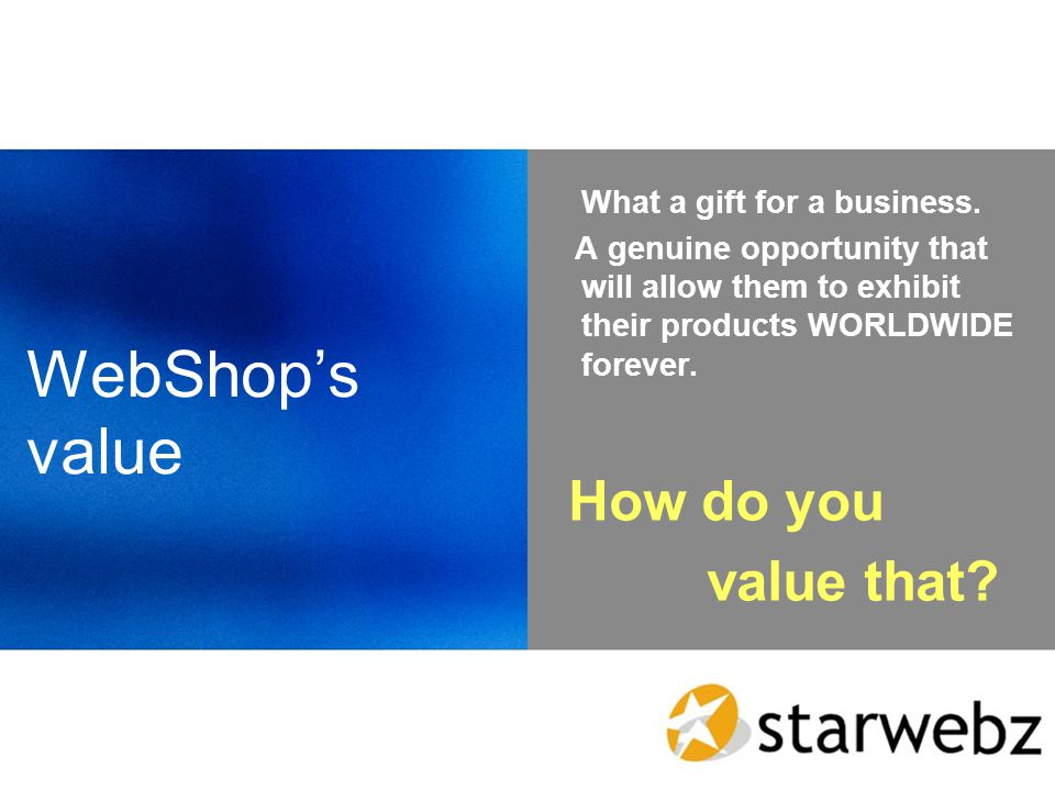 WebShops value What a gift for a business.