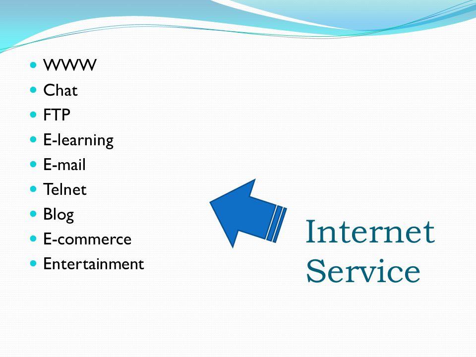 Internet Service WWW Chat FTP E-learning E-mail Telnet Blog E-commerce Entertainment