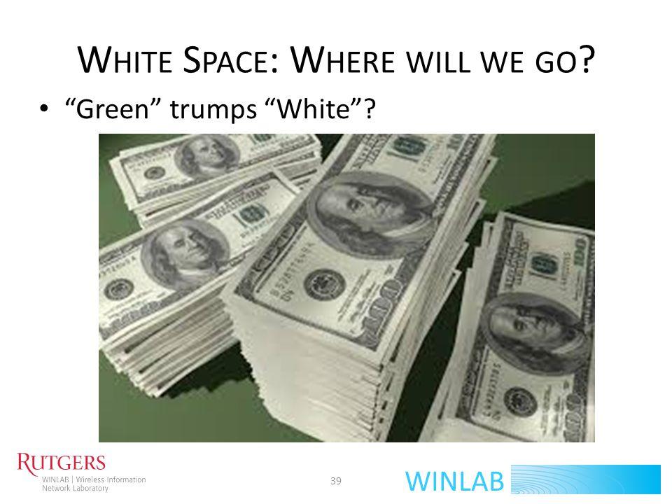 WINLAB W HITE S PACE : W HERE WILL WE GO ? Green trumps White? 39