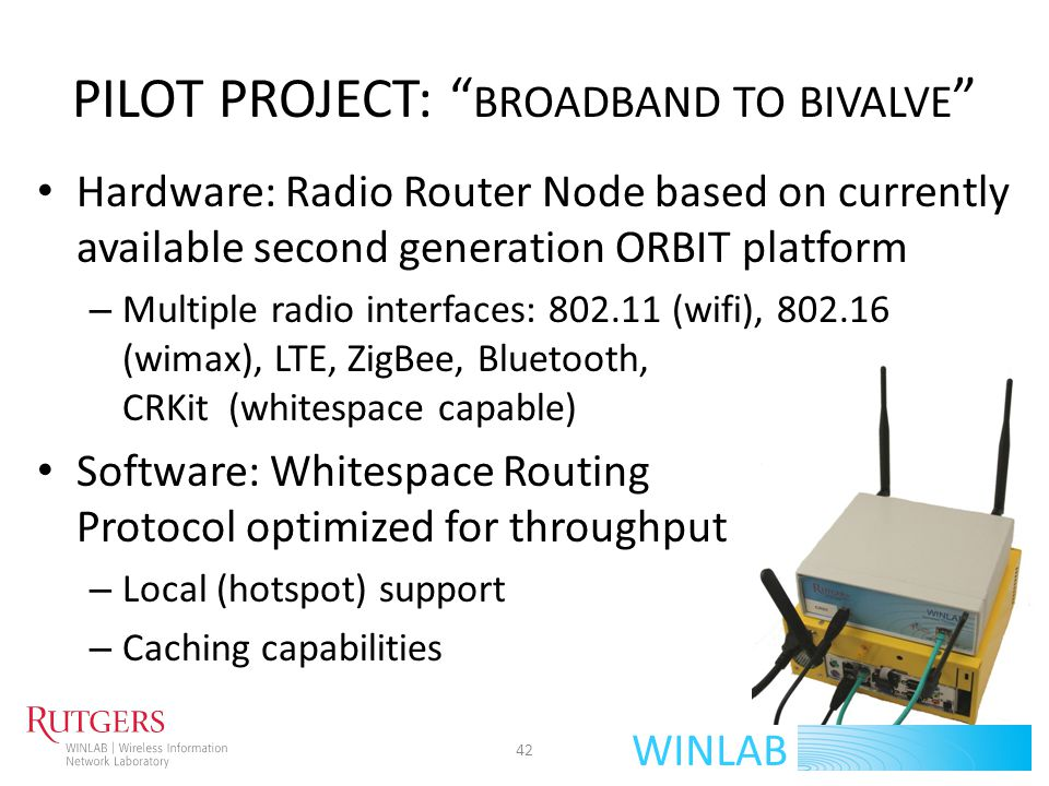 WINLAB PILOT PROJECT: BROADBAND TO BIVALVE Hardware: Radio Router Node based on currently available second generation ORBIT platform – Multiple radio
