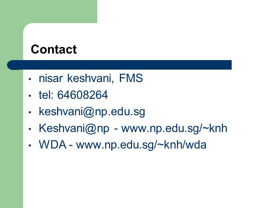 Contact nisar keshvani, FMS tel: 64608264 keshvani@np.edu.sg Keshvani@np - www.np.edu.sg/~knh WDA - www.np.edu.sg/~knh/wda