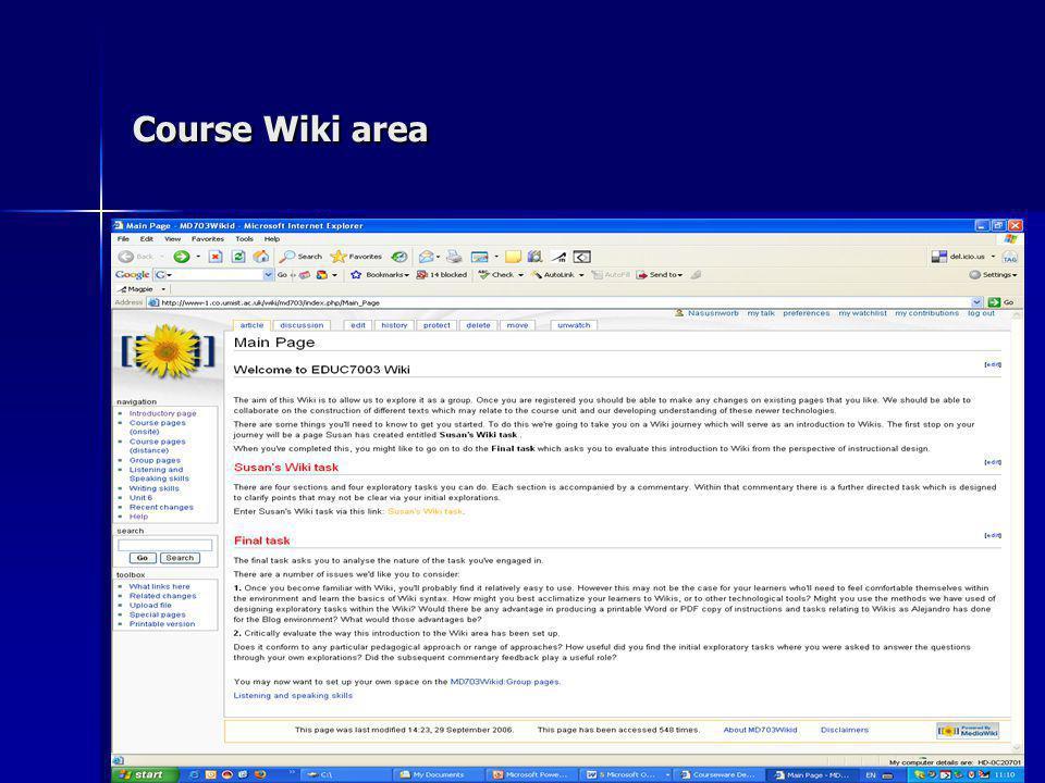 Course Wiki area