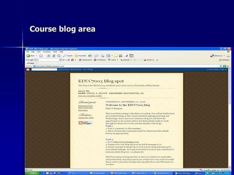 Course blog area