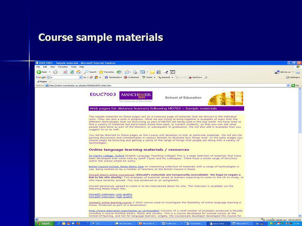 Course sample materials