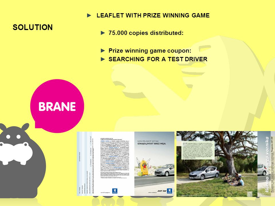 SOLUTION LEAFLET WITH PRIZE WINNING GAME 75.000 copies distributed: Prize winning game coupon: SEARCHING FOR A TEST DRIVER