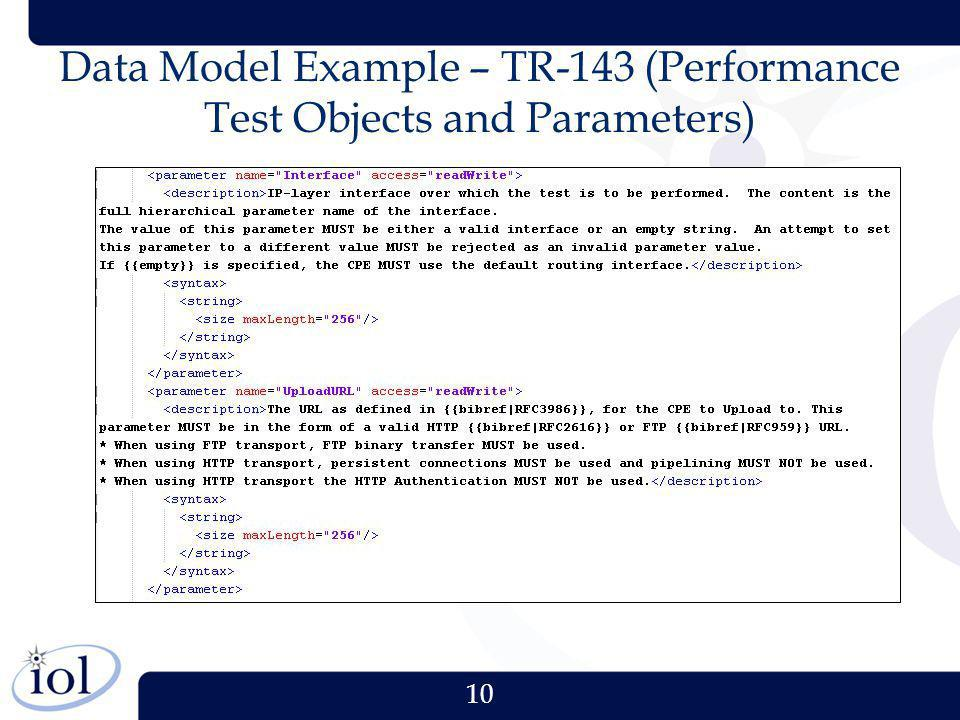 10 Data Model Example – TR-143 (Performance Test Objects and Parameters)