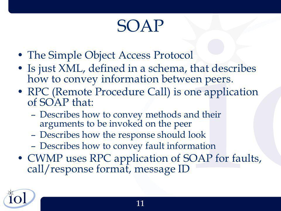 11 SOAP The Simple Object Access Protocol Is just XML, defined in a schema, that describes how to convey information between peers. RPC (Remote Proced