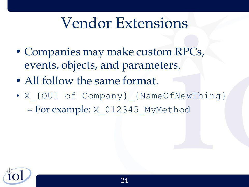 24 Vendor Extensions Companies may make custom RPCs, events, objects, and parameters. All follow the same format. X_{OUI of Company}_{NameOfNewThing}