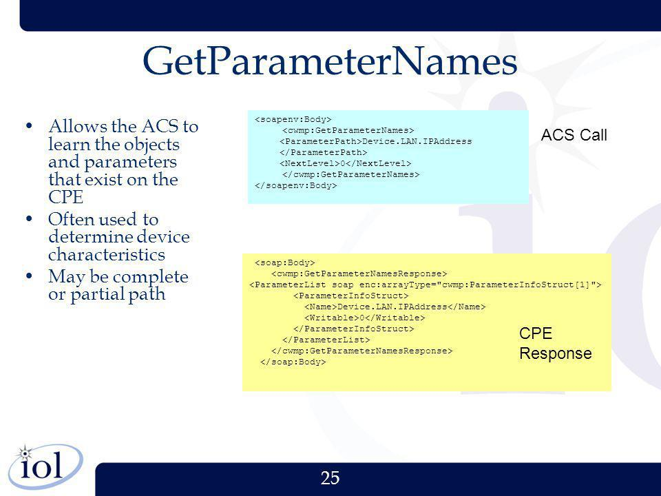 25 GetParameterNames Allows the ACS to learn the objects and parameters that exist on the CPE Often used to determine device characteristics May be co