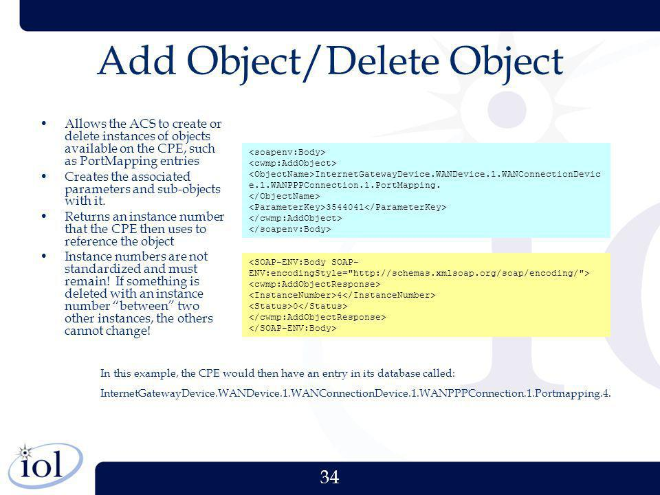34 Add Object/Delete Object Allows the ACS to create or delete instances of objects available on the CPE, such as PortMapping entries Creates the asso