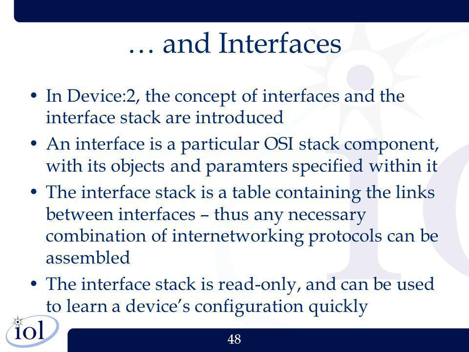 48 … and Interfaces In Device:2, the concept of interfaces and the interface stack are introduced An interface is a particular OSI stack component, wi