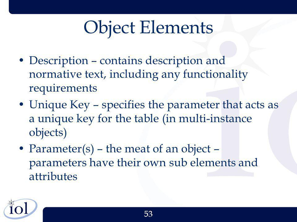 53 Object Elements Description – contains description and normative text, including any functionality requirements Unique Key – specifies the paramete