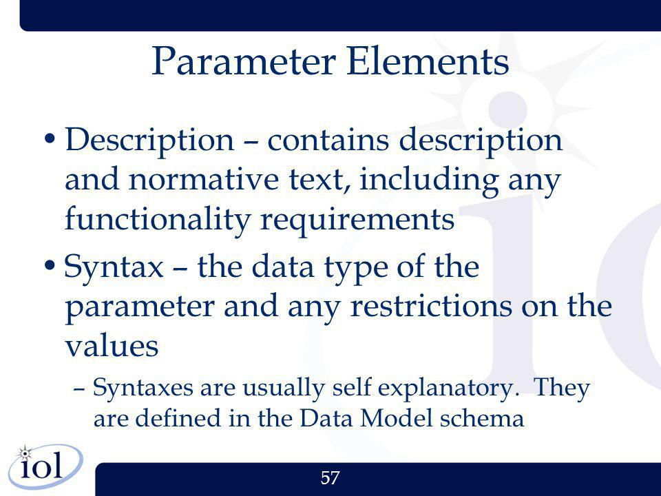 57 Parameter Elements Description – contains description and normative text, including any functionality requirements Syntax – the data type of the pa