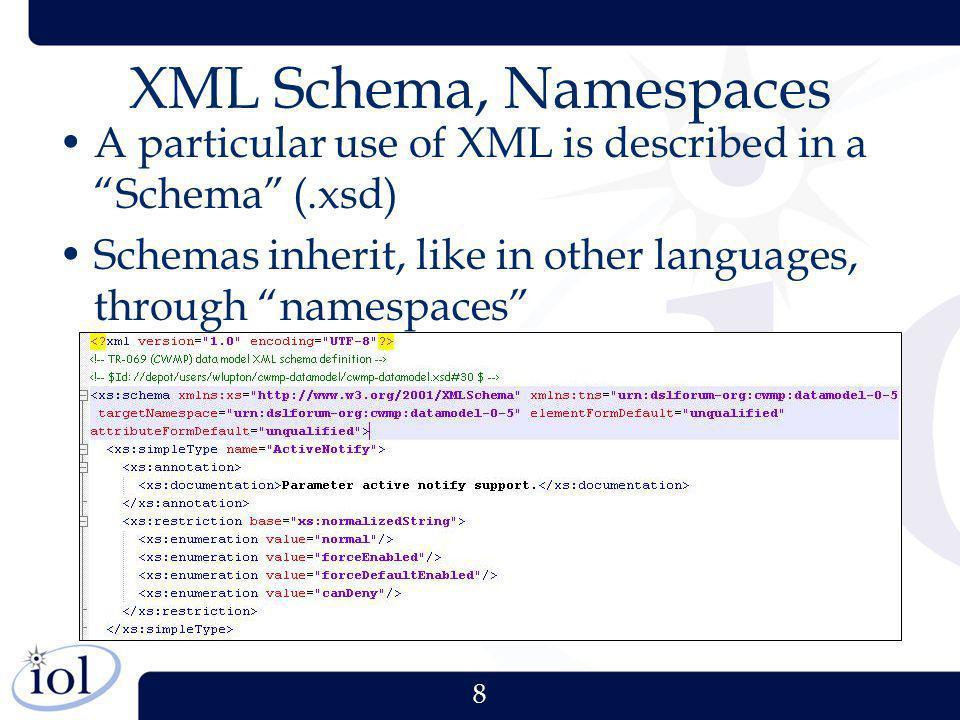 8 XML Schema, Namespaces A particular use of XML is described in a Schema (.xsd) Schemas inherit, like in other languages, through namespaces