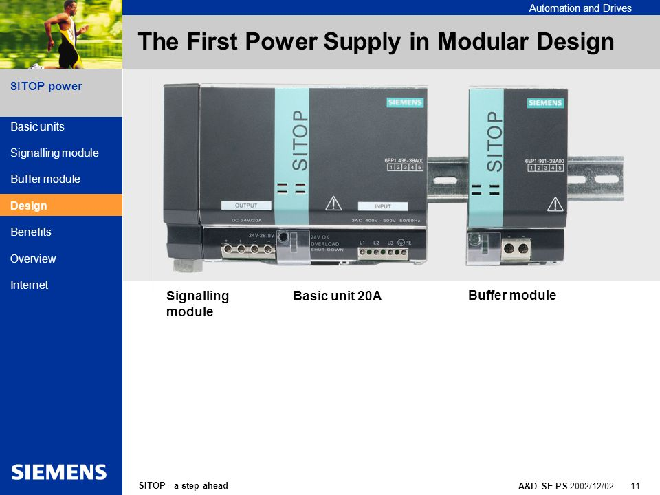 SITOP - a step ahead A&D SE PS 2002/12/02 11 SITOP power Automation and Drives The First Power Supply in Modular Design Signalling module Basic unit 20A Buffer module Basic units Signalling module Buffer module Design Benefits Overview Internet