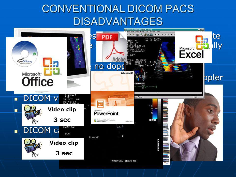 CONVENTIONAL DICOM PACS DISADVANTAGES DICOM image files are very large, making remote access more time consuming and jerky, especially with video.