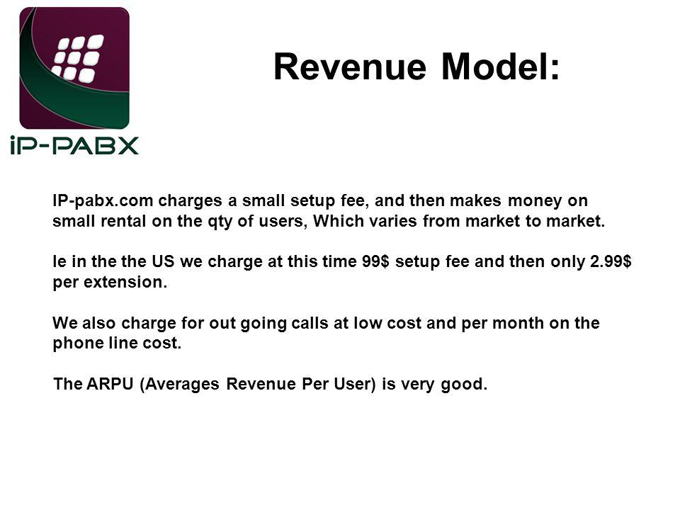 Revenue Model: IP-pabx.com charges a small setup fee, and then makes money on small rental on the qty of users, Which varies from market to market.