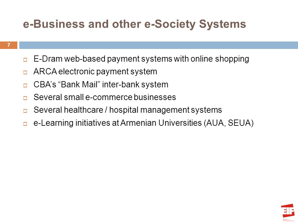 e-Business and other e-Society Systems E-Dram web-based payment systems with online shopping ARCA electronic payment system CBAs Bank Mail inter-bank