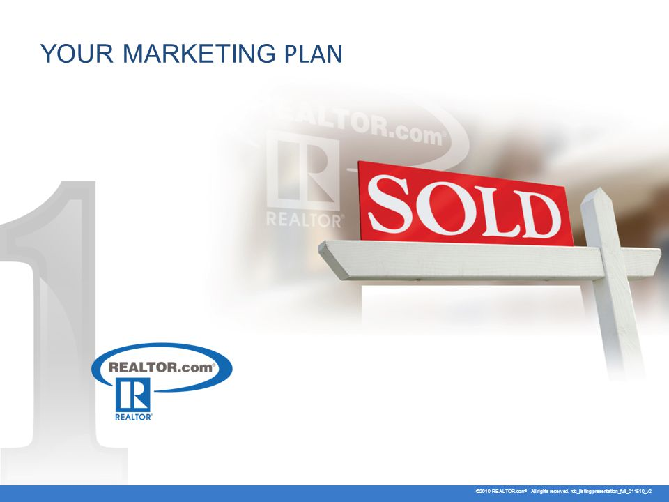 YOUR MARKETING PLAN ©2010 REALTOR.com ® All rights reserved. rdc_listing presentation_full_011510_v2