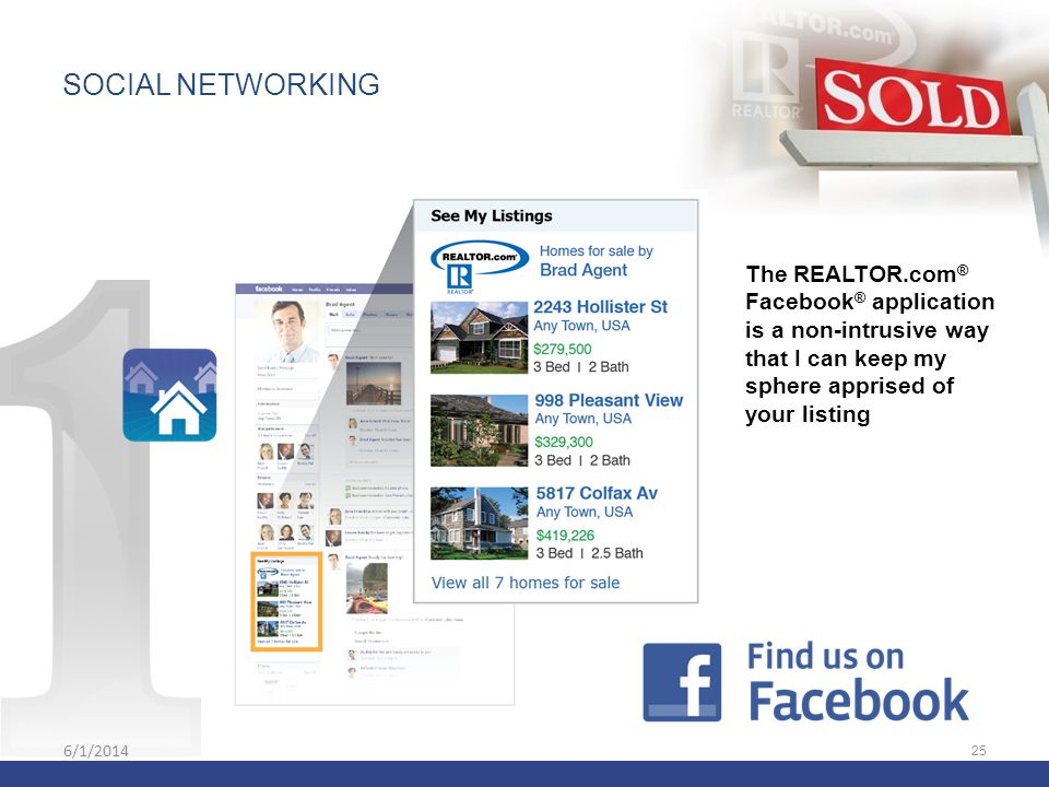 6/1/2014 25 The REALTOR.com ® Facebook ® application is a non-intrusive way that I can keep my sphere apprised of your listing SOCIAL NETWORKING