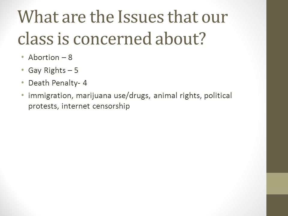What are the Issues that our class is concerned about.