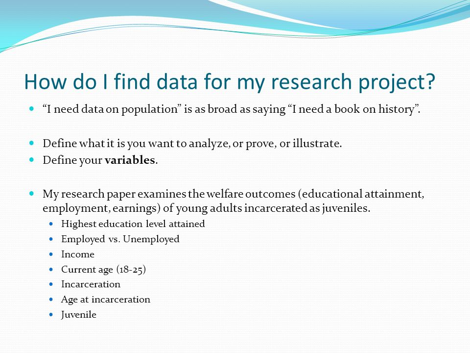 Where do I find data for my research project.